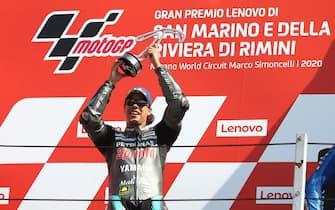 Petronas Yamaha SRT' Italian rider Franco Morbidelli celebrates on the podium after winning the San Marino MotoGP Grand Prix at the Misano World Circuit Marco Simoncelli on September 13, 2020. ANSA/PASQUALE BOVE