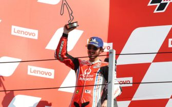 Pramac Racing's Italian rider Francesco Bagnaia celebrates on the podium after his second place at the San Marino MotoGP Grand Prix at the Misano World Circuit Marco Simoncelli on September 13, 2020. ANSA/PASQUALE BOVE