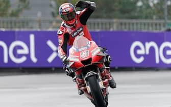 epa08735694 Italian MotoGP rider Danilo Petrucci of Ducati Team celebrates winning the motorcycling Grand Prix of France in Le Mans, France, 11 October 2020.  EPA/EDDY LEMAISTRE