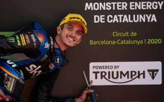 epa08699208 Italian Moto2 rider Luca Marini, of Kalex team, reacts at the end of the qualifying session held at Barcelona-Catalunya circuit in Montmelo, Barcelona, Spain, 26 September 2020. The Catalunya Grand Prix will take place 27 September 2020.  EPA/Alejandro Garcia