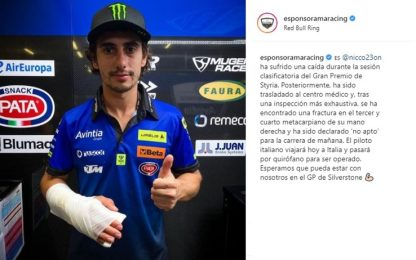 Moto3, brutta caduta per Antonelli: salta due gare