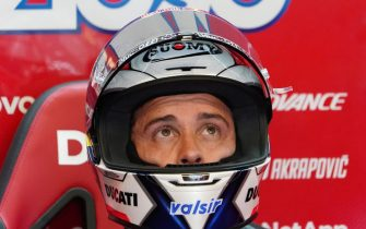 epa08733545 Italian Moto GP rider Andrea Dovizioso  of Ducati Team during the free practice session of the French Motorcycling Grand Prix in Le Mans, France, 10 october 2020. The Motorcycling Grand Prix of France will take place on 11 October 2020.  EPA/EDDY LEMAISTRE