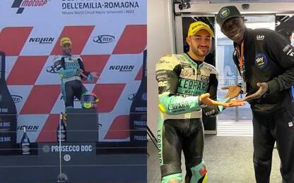 Foggia vince a Misano e sul podio imita Khaby
