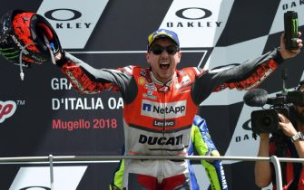 Spanish Moto GP rider Jorge Lorenzo of Ducati Team celebrate first placed Motorcycling Grand Prix of Italy at the Mugello circuit in Scarperia, central Italy, 3 June 2018 ANSA/CLAUDIO GIOVANNINI