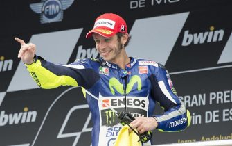 JEREZ DE LA FRONTERA, SPAIN - MAY 03:  Valentino Rossi of Italy and Movistar Yamaha MotoGP celebrates the third place on the podium at the end of the MotoGP race during the MotoGp of Spain - Race at Circuito de Jerez on May 3, 2015 in Jerez de la Frontera, Spain.  (Photo by Mirco Lazzari gp/Getty Images)