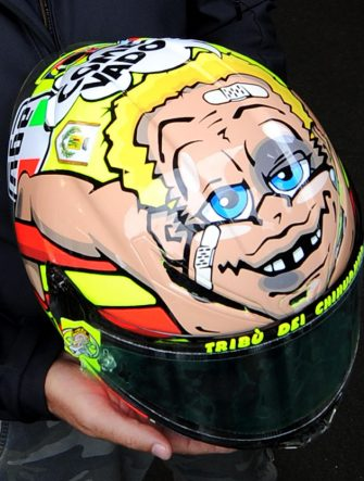 The helmet of Italian MotoGP rider Valentino Rossi of the Ducati is seen in the box during the third free practice session at the Misano circuit, 15 September 2012, ahead of the Grand Prix of San Marino and Riviera di Rimini at the Misano circuit, Misano Adriatico, Italy on 16 September 2012.   ANSA/ETTORE FERRARI