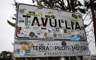 The town sign of Tavullia, the hometown of Italian motorcyle racer Valentino Rossi, where he headquartered his VR46 Valentino Rossi Riders Academy, is pictured on January 29, 2019 in Tavullia. - Everything in the Italian village reminds you that you are in Valentino Rossi's hometown. The champion grew up here on the border of Marche and Emilia-Romagna in eastern Italy, and his racing number 46 is everywhere in Tavullia. (Photo by MIGUEL MEDINA / AFP) / TO GO WITH AFP STORY BY STANISLAS TOUCHOT (Photo by MIGUEL MEDINA/AFP via Getty Images)