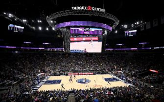 MINNEAPOLIS, MN - MARCH 19: A general view of the arena during the game between the Golden State Warriors and the Minnesota Timberwolves on March 19, 2019 at Target Center in Minneapolis, Minnesota. NOTE TO USER: User expressly acknowledges and agrees that, by downloading and/or using this photograph, user is consenting to the terms and conditions of the Getty Images License Agreement. Mandatory Copyright Notice: Copyright 2019 NBAE (Photo by Jordan Johnson/NBAE via Getty Images)