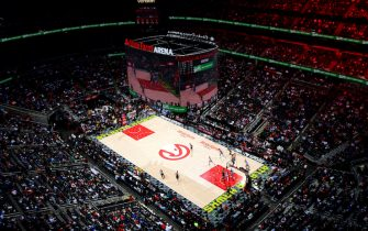 ATLANTA, GA -  MARCH 29: A general view of the arena during the game between the Atlanta Hawks and Portland Trail Blazers on March 29, 2019 at State Farm Arena in Atlanta, Georgia.  NOTE TO USER: User expressly acknowledges and agrees that, by downloading and/or using this Photograph, user is consenting to the terms and conditions of the Getty Images License Agreement. Mandatory Copyright Notice: Copyright 2019 NBAE (Photo by Scott Cunningham/NBAE via Getty Images)