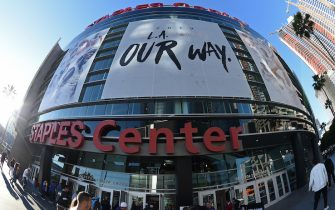 LOS ANGELES, CA - APRIL 18: An exterior view of the arena before Game Three of Round One between the Golden State Warriors and the LA Clippers during the 2019 NBA Playoffs on April 18, 2019 at STAPLES Center in Los Angeles, California. NOTE TO USER: User expressly acknowledges and agrees that, by downloading and/or using this photograph, user is consenting to the terms and conditions of the Getty Images License Agreement. Mandatory Copyright Notice: Copyright 2019 NBAE (Photo by Adam Pantozzi/NBAE via Getty Images)