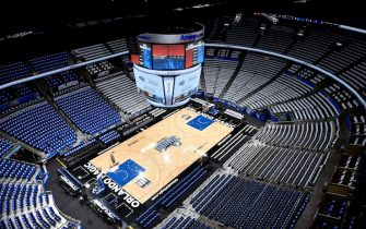 ORLANDO, FL - APRIL 19 : A general view of the arena prior to Game Three of Round One of the 2019 NBA Playoffs between the Toronto Raptors and Orlando Magic on April 19, 2019 at Amway Center in Orlando, Florida. NOTE TO USER: User expressly acknowledges and agrees that, by downloading and or using this photograph, User is consenting to the terms and conditions of the Getty Images License Agreement. Mandatory Copyright Notice: Copyright 2019 NBAE (Photo by Gary Bassing/NBAE via Getty Images)