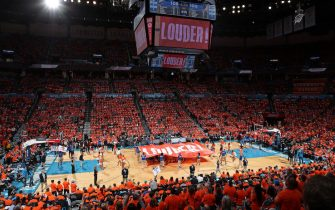 OKLAHOMA CITY, OK - APRIL 19: A general view of the arena during Game Three of Round One of the 2019 NBA Playoffs between the Portland Trail Blazers and the Oklahoma City Thunder on April 19, 2019 at Chesapeake Energy Arena in Oklahoma City, Oklahoma. NOTE TO USER: User expressly acknowledges and agrees that, by downloading and/or using this photograph, user is consenting to the terms and conditions of the Getty Images License Agreement. Mandatory Copyright Notice: Copyright 2019 NBAE (Photo by Joe Murphy/NBAE via Getty Images)
