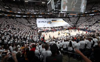 SALT LAKE CITY, UT - APRIL 22: A general view of the arena before Game Four of Round One between the Houston Rockets and the Utah Jazz during the 2019 NBA Playoffs on April 22, 2019 at vivint.SmartHome Arena in Salt Lake City, Utah. NOTE TO USER: User expressly acknowledges and agrees that, by downloading and/or using this photograph, user is consenting to the terms and conditions of the Getty Images License Agreement. Mandatory Copyright Notice: Copyright 2019 NBAE (Photo by Melissa Majchrzak/NBAE via Getty Images)