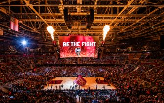 CLEVELAND, OH - OCTOBER 27: A general stadium view of Quicken Loans Arena during players introduction prior to the game between the Cleveland Cavaliers and the Indiana Pacers on October 27, 2018 in Cleveland, Ohio. NOTE TO USER: User expressly acknowledges and agrees that, by downloading and/or using this photograph, user is consenting to the terms and conditions of the Getty Images License Agreement. (Photo by Jason Miller/Getty Images)