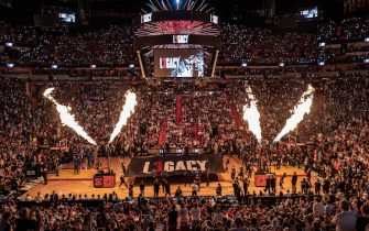 MIAMI, FL - APRIL 09: A general view of player introductions between the Miami Heat and the Philadelphia 76ers before the final regular season home game of Dwyane Wade #3 of the Miami Heat at American Airlines Arena on April 09, 2019 in Miami, Florida. NOTE TO USER: User expressly acknowledges and agrees that, by downloading and or using this photograph, User is consenting to the terms and conditions of the Getty Images License Agreement.  (Photo by Mark Brown/Getty Images)