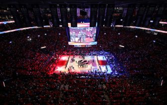 TORONTO, ONTARIO - JUNE 10:  A general view during player introductions prior to Game Five of the 2019 NBA Finals between the Golden State Warriors and the Toronto Raptors at Scotiabank Arena on June 10, 2019 in Toronto, Canada. NOTE TO USER: User expressly acknowledges and agrees that, by downloading and or using this photograph, User is consenting to the terms and conditions of the Getty Images License Agreement. (Photo by Gregory Shamus/Getty Images)
