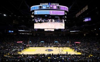 SAN FRANCISCO, CALIFORNIA - OCTOBER 05:  A general view of the Golden State Warriors playing against the Los Angeles Lakers in a preseason game at Chase Center on October 05, 2019 in San Francisco, California.  NOTE TO USER: User expressly acknowledges and agrees that, by downloading and or using this photograph, User is consenting to the terms and conditions of the Getty Images License Agreement.  (Photo by Ezra Shaw/Getty Images)