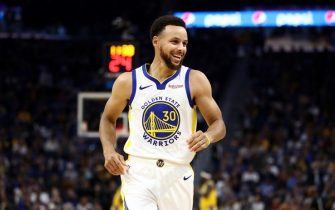 SAN FRANCISCO, CALIFORNIA - OCTOBER 05:  Stephen Curry #30 of the Golden State Warriors smiles during their game against the Los Angeles Lakers at Chase Center on October 05, 2019 in San Francisco, California.  NOTE TO USER: User expressly acknowledges and agrees that, by downloading and or using this photograph, User is consenting to the terms and conditions of the Getty Images License Agreement.  (Photo by Ezra Shaw/Getty Images)