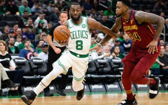 BOSTON, MA - OCTOBER 13:  Kemba Walker #8 of the Boston Celtics drives past Jarell Martin #24 of the Cleveland Cavaliers in the first quarter at TD Garden on October 13, 2019 in Boston, Massachusetts. NOTE TO USER: User expressly acknowledges and agrees that, by downloading and or using this photograph, User is consenting to the terms and conditions of the Getty Images License Agreement. (Photo by Kathryn Riley/Getty Images)