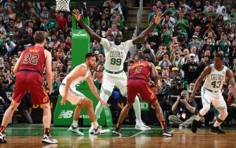 BOSTON, MA - OCTOBER 13: Tacko Fall #99 of the Boston Celtics plays defense against the Cleveland Cavaliers during a pre-season game on October 13, 2019 at the TD Garden in Boston, Massachusetts. NOTE TO USER: User expressly acknowledges and agrees that, by downloading and or using this photograph, User is consenting to the terms and conditions of the Getty Images License Agreement. Mandatory Copyright Notice: Copyright 2019 NBAE (Photo by Brian Babineau/NBAE via Getty Images)