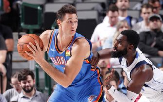 DALLAS, TX - OCTOBER 14: Danilo Gallinari #8 of the Oklahoma City Thunder handles the ball during a pre-season game against the Dallas Mavericks on October 14, 2019 at the American Airlines Center in Dallas, Texas. NOTE TO USER: User expressly acknowledges and agrees that, by downloading and or using this photograph, User is consenting to the terms and conditions of the Getty Images License Agreement. Mandatory Copyright Notice: Copyright 2019 NBAE (Photo by Glenn James/NBAE via Getty Images)