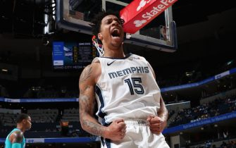 MEMPHIS, TN - OCTOBER 14: Brandon Clarke #15 of the Memphis Grizzlies reacts to a play against the Charlotte Hornets during a pre-season game on October 14, 2019 at FedExForum in Memphis, Tennessee. NOTE TO USER: User expressly acknowledges and agrees that, by downloading and or using this photograph, User is consenting to the terms and conditions of the Getty Images License Agreement. Mandatory Copyright Notice: Copyright 2019 NBAE (Photo by Joe Murphy/NBAE via Getty Images)