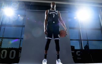 NEW YORK, NEW YORK - SEPTEMBER 27: Kevin Durant #7 of the Brooklyn Nets poses for a photograph during Media Day at HSS Training Center on September 27, 2019 in the Brooklyn borough of New York City. NOTE TO USER: User expressly acknowledges and agrees that, by downloading and or using this photograph, User is consenting to the terms and conditions of the Getty Images License Agreement. (Photo by Emilee Chinn/Getty Images)