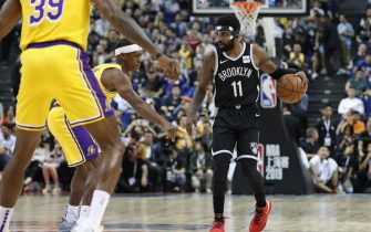 SHANGHAI, CHINA - OCTOBER 10: Kyrie Irving #11 of the Brooklyn Nets dribbles during a preseason game as part of 2019 NBA Global Games China on October 10, 2019 at Mercedes Benz Arena in Shanghai, China. NOTE TO USER: User expressly acknowledges and agrees that, by downloading and/or using this Photograph, user is consenting to the terms and conditions of the Getty Images License Agreement. Mandatory Copyright Notice: Copyright 2019 NBAE (Photo by Nathaniel S. Butler/NBAE via Getty Images)