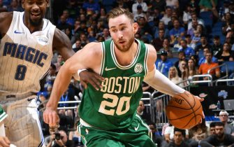 ORLANDO, FL - OCTOBER 11: Gordon Hayward #20 of the Boston Celtics drives to the basket against the Orlando Magic during a pre-season game on October 11, 2019 at Amway Center in Orlando, Florida. NOTE TO USER: User expressly acknowledges and agrees that, by downloading and or using this photograph, User is consenting to the terms and conditions of the Getty Images License Agreement. Mandatory Copyright Notice: Copyright 2019 NBAE (Photo by Fernando Medina/NBAE via Getty Images)