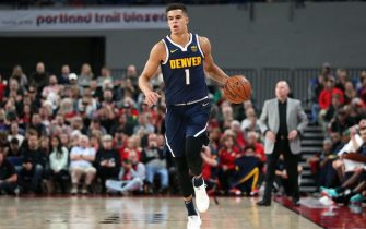 PORTLAND, OREGON - OCTOBER 08: Michael Porter Jr. #1 of the Denver Nuggets brings the ball up court in the fourth quarter against the Portland Trail Blazers during a preseason game at Veterans Memorial Coliseum on October 08, 2019 in Portland, Oregon. NOTE TO USER: User expressly acknowledges and agrees that, by downloading and or using this photograph, User is consenting to the terms and conditions of the Getty Images License Agreement (Photo by Abbie Parr/Getty Images)