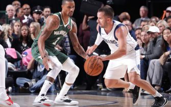 DALLAS, TX - OCTOBER 11: J.J. Barea #5 of the Dallas Mavericks handles the ball against the Milwaukee Bucks during a pre-season game on October 11, 2019 at the American Airlines Center in Dallas, Texas. NOTE TO USER: User expressly acknowledges and agrees that, by downloading and or using this photograph, User is consenting to the terms and conditions of the Getty Images License Agreement. Mandatory Copyright Notice: Copyright 2019 NBAE (Photo by Glenn James/NBAE via Getty Images)