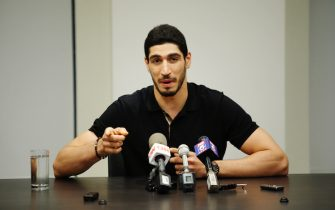 NEW YORK, NY - MAY 22:  Turkish NBA Player Enes Kanter speaks to media during a news conference about his detention at a Romanian airport on May 22, 2017 in New York City. Kanter returned to the U.S. after being detained for several hours at a Romanian airport following statements he made criticizing Turkey's president Recep Tayyip Erdogan. (Photo by Eduardo Munoz Alvarez/Getty Images)