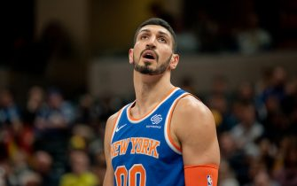 INDIANAPOLIS, IN - DECEMBER 16: Enes Kanter #00 of the New York Knicks looks to the crowd during a game against the Indiana Pacers at Bankers Life Fieldhouse on December 16, 2018 in Indianapolis, Indiana. (Photo by Brian Munoz/Getty Images)