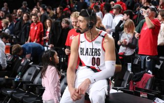 PORTLAND, OR - APRIL 14:  Enes Kanter #00 of the Portland Trail Blazers talks to the media after the game against the Oklahoma City Thunder during Game One of Round One of the 2019 NBA Playoffs on April 14, 2019 at the Moda Center Arena in Portland, Oregon. NOTE TO USER: User expressly acknowledges and agrees that, by downloading and or using this photograph, user is consenting to the terms and conditions of the Getty Images License Agreement. Mandatory Copyright Notice: Copyright 2019 NBAE (Photo by Sam Forencich/NBAE via Getty Images)
