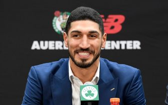BOSTON, MA - JULY 17: Enes Kanter #11 of the Boston Celtics smiles during the introductory press conference on July 17, 2019 at the Auerbach Center in Boston, Massachusetts. NOTE TO USER: User expressly acknowledges and agrees that, by downloading and/or using this photograph, user is consenting to the terms and conditions of the Getty Images License Agreement. Mandatory Copyright Notice: Copyright 2019 NBAE (Photo by Brian Babineau/NBAE via Getty Images)