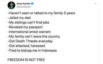 Un tweet di Enes Kanter