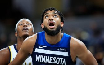 INDIANAPOLIS, INDIANA - OCTOBER 15:  Karl-Anthony Towns #32 of the Minnesota Timberwolves looks to rebound the ball against the Indiana Pacers at Bankers Life Fieldhouse on October 15, 2019 in Indianapolis, Indiana. (Photo by Andy Lyons/Getty Images)