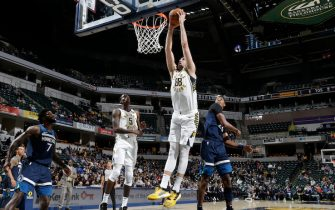 INDIANAPOLIS, IN - OCTOBER 15: Goga Bitadze #88 of the Indiana Pacers shoots the ball against the Minnesota Timberwolves during a pre-season game on October 15, 2019 at Bankers Life Fieldhouse in Indianapolis, Indiana. NOTE TO USER: User expressly acknowledges and agrees that, by downloading and or using this Photograph, user is consenting to the terms and conditions of the Getty Images License Agreement. Mandatory Copyright Notice: Copyright 2019 NBAE (Photo by Ron Hoskins/NBAE via Getty Images)