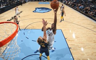 MEMPHIS, TN - OCTOBER 6:  Jaren Jackson Jr. #13 of the Memphis Grizzlies shoots the ball against the Indiana Pacers during a pre-season game on October 6, 2018 at FedExForum in Memphis, Tennessee.  NOTE TO USER: User expressly acknowledges and agrees that, by downloading and or using this Photograph, user is consenting to the terms and conditions of the Getty Images License Agreement. Mandatory Copyright Notice: Copyright 2018 NBAE (Photo by Joe Murphy/NBAE via Getty Images)
