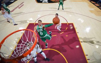CLEVELAND, OH - OCTOBER 17:  Jayson Tatum #0 of the Boston Celtics goes to the basket against the Cleveland Cavaliers on October 17, 2017 at Quicken Loans Arena in Cleveland, Ohio. NOTE TO USER: User expressly acknowledges and agrees that, by downloading and/or using this Photograph, user is consenting to the terms and conditions of the Getty Images License Agreement. Mandatory Copyright Notice: Copyright 2017 NBAE (Photo by Jesse D. Garrabrant/NBAE via Getty Images)