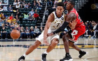 INDIANAPOLIS, IN - OCTOBER 11: Malcolm Brogdon #7 of the Indiana Pacers has the ball knocked away by Kris Dunn #32 of the Chicago Bulls during a preseason game at Bankers Life Fieldhouse on October 11, 2019 in Indianapolis, Indiana. The Pacers defeated the Bulls 105-87. NOTE TO USER: User expressly acknowledges and agrees that, by downloading and or using this Photograph, user is consenting to the terms and conditions of the Getty Images License Agreement. (Photo by Joe Robbins/Getty Images)