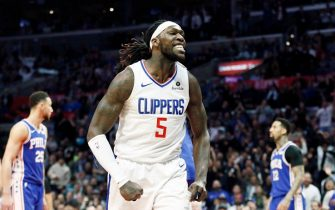 LOS ANGELES, CA - JANUARY 1:  Montrezl Harrell #5 of the LA Clippers reacts against the Philadelphia 76ers  on January 1, 2019 at STAPLES Center in Los Angeles, California. NOTE TO USER: User expressly acknowledges and agrees that, by downloading and/or using this Photograph, user is consenting to the terms and conditions of the Getty Images License Agreement. Mandatory Copyright Notice: Copyright 2019 NBAE (Photo by Chris Elise/NBAE via Getty Images)