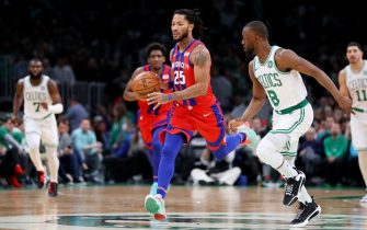 BOSTON, MASSACHUSETTS - DECEMBER 20: Derrick Rose #25 of the Detroit Pistons dribbles downcourt past Kemba Walker #8 of the Boston Celtics  at TD Garden on December 20, 2019 in Boston, Massachusetts. NOTE TO USER: User expressly acknowledges and agrees that, by downloading and or using this photograph, User is consenting to the terms and conditions of the Getty Images License Agreement. (Photo by Maddie Meyer/Getty Images)