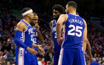 PHILADELPHIA, PA - OCTOBER 30: Tobias Harris #12, Ben Simmons #25, and Joel Embiid #21 of the Philadelphia 76ers huddle against the Minnesota Timberwolves at the Wells Fargo Center on October 30, 2019 in Philadelphia, Pennsylvania. NOTE TO USER: User expressly acknowledges and agrees that, by downloading and or using this photograph, User is consenting to the terms and conditions of the Getty Images License Agreement. (Photo by Mitchell Leff/Getty Images)