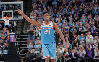 SACRAMENTO, CA - APRIL 7: Buddy Hield #24 of the Sacramento Kings reacts during the game against the New Orleans Pelicans on April 7, 2019 at Golden 1 Center in Sacramento, California. NOTE TO USER: User expressly acknowledges and agrees that, by downloading and or using this photograph, User is consenting to the terms and conditions of the Getty Images Agreement. Mandatory Copyright Notice: Copyright 2019 NBAE (Photo by Rocky Widner/NBAE via Getty Images)