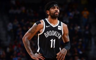 DENVER, CO - NOVEMBER 14: Kyrie Irving #11 of the Brooklyn Nets looks on during the game against the Denver Nuggets on November 14, 2019 at the Pepsi Center in Denver, Colorado. NOTE TO USER: User expressly acknowledges and agrees that, by downloading and/or using this Photograph, user is consenting to the terms and conditions of the Getty Images License Agreement. Mandatory Copyright Notice: Copyright 2019 NBAE (Photo by Bart Young/NBAE via Getty Images)