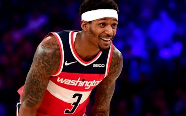 NEW YORK, NEW YORK - OCTOBER 11: Bradley Beal #3 of the Washington Wizards smiles during the second quarter of their game against the New York Knicks at Madison Square Garden on October 11, 2019 in New York City. (NOTE TO USER: User expressly acknowledges and agrees that, by downloading and or using this photograph, User is consenting to the terms and conditions of the Getty Images License Agreement. (Photo by Emilee Chinn/Getty Images)