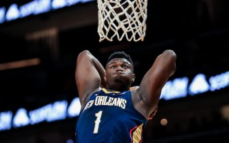 ATLANTA, GA - OCTOBER 7: Zion Williamson #1 of the New Orleans Pelicans attempts to dunk a ball during a preseason game against the Atlanta Hawks at State Farm Arena on October 7, 2019 in Atlanta, Georgia. NOTE TO USER: User expressly acknowledges and agrees that, by downloading and or using this photograph, User is consenting to the terms and conditions of the Getty Images License Agreement. (Photo by Carmen Mandato/Getty Images)