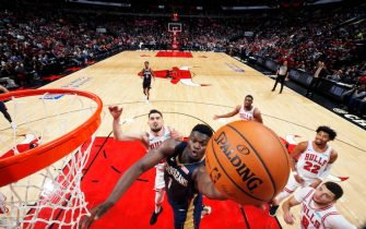 CHICAGO, IL - October 8: Zion Williamson #1 of the New Orleans Pelicans shoots the ball against the Chicago Bulls during a pre-season game on October 8, 2019 at United Center in Chicago, Illinois. NOTE TO USER: User expressly acknowledges and agrees that, by downloading and or using this photograph, User is consenting to the terms and conditions of the Getty Images License Agreement. Mandatory Copyright Notice: Copyright 2019 NBAE (Photo by Jeff Haynes/NBAE via Getty Images)