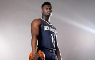 MADISON, NEW JERSEY - AUGUST 11: Zion Williamson of the New Orleans Pelicans poses for a portrait during the 2019 NBA Rookie Photo Shoot on August 11, 2019 at the Ferguson Recreation Center in Madison, New Jersey. (Photo by Elsa/Getty Images)